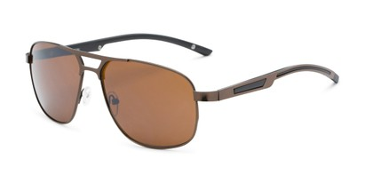 Angle of Gordie #8317 in Brown Frame with Amber Lenses, Men's Aviator Sunglasses