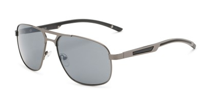 Angle of Gordie #8317 in Grey Frame with Grey Lenses, Men's Aviator Sunglasses