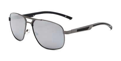 Angle of Gordie #8317 in Grey Frame with Silver Mirrored Lenses, Men's Aviator Sunglasses