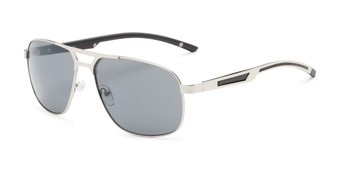 Angle of Gordie #8317 in Silver Frame with Grey Lenses, Men's Aviator Sunglasses