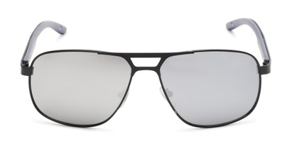 Front of Gordie #8317 in Black Frame with Silver Mirrored Lenses
