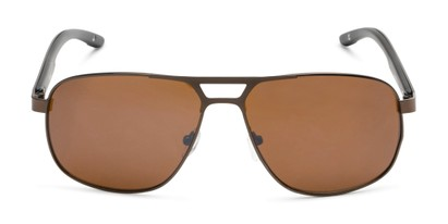 Front of Gordie #8317 in Brown Frame with Amber Lenses