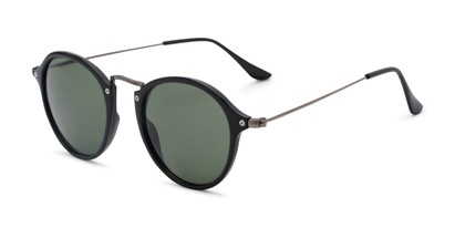 Angle of Grafton #5428 in Black/Grey Frame with Green Lenses, Women's and Men's Round Sunglasses