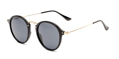 Angle of Grafton #5428 in Black/Gold Frame with Grey Lenses, Women's and Men's Round Sunglasses