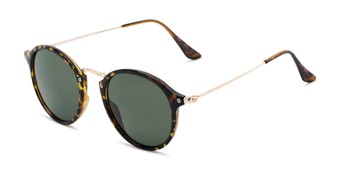 Angle of Grafton #5428 in Tortoise/Gold Frame with Green Lenses, Women's and Men's Round Sunglasses