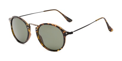 Angle of Grafton #5428 in Tortoise/Grey Frame with Green Lenses, Women's and Men's Round Sunglasses