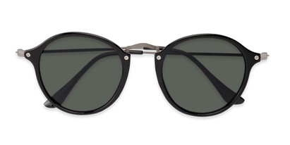 Folded of Grafton #5428 in Black/Grey Frame with Green Lenses
