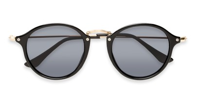 Folded of Grafton #5428 in Black/Gold Frame with Grey Lenses