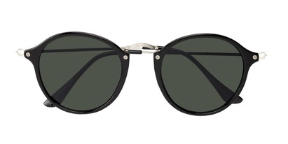 Folded of Grafton #5428 in Black/Silver Frame with Green Lenses