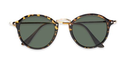 Folded of Grafton #5428 in Tortoise/Gold Frame with Green Lenses