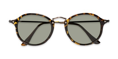 Folded of Grafton #5428 in Tortoise/Grey Frame with Green Lenses