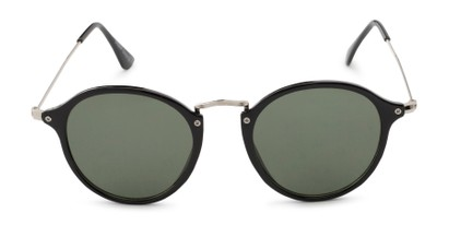 Front of Grafton #5428 in Black/Silver Frame with Green Lenses