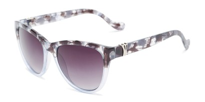 Angle of Greeley #32010 in Black/Blue Tortoise Fade Frame with Smoke Lenses, Women's Cat Eye Sunglasses