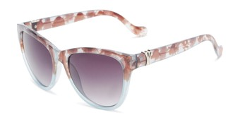 Angle of Greeley #32010 in Brown/Blue Tortoise Fade Frame with Smoke Lenses, Women's Cat Eye Sunglasses
