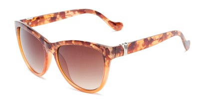 Angle of Greeley #32010 in Brown/Orange Tortoise Fade Frame with Amber Lenses, Women's Cat Eye Sunglasses