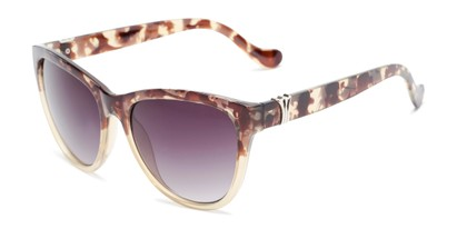 Angle of Greeley #32010 in Brown/Tan Tortoise Fade Frame with Smoke Lenses, Women's Cat Eye Sunglasses