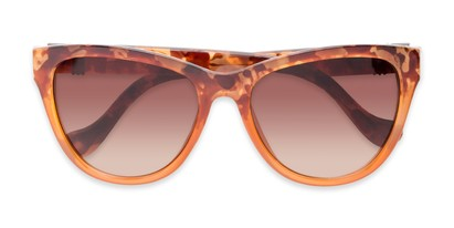 Folded of Greeley #32010 in Brown/Orange Tortoise Fade Frame with Amber Lenses