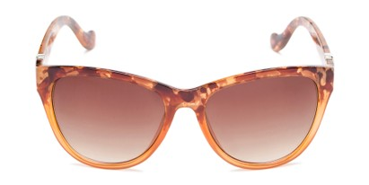 Front of Greeley #32010 in Brown/Orange Tortoise Fade Frame with Amber Lenses