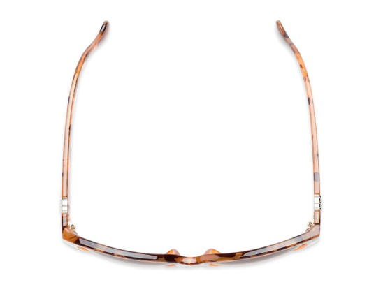 Overhead of Greeley #32010 in Brown/Orange Tortoise Fade Frame with Amber Lenses