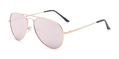 Angle of Grotto #6772 in Rose Gold Frame with Pink Mirrored Lenses, Women's and Men's Aviator Sunglasses