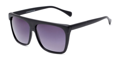 Angle of Grover #8292 in Black Frame with Grey Lenses, Men's Square Sunglasses