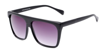 Angle of Grover #8292 in Black Frame with Smoke Lenses, Men's Square Sunglasses