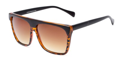 Angle of Grover #8292 in Black/Tortoise Frame with Amber Lenses, Men's Square Sunglasses