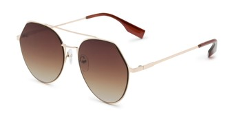 Angle of Gus #4001 in Gold Frame with Amber Lenses, Women's and Men's Round Sunglasses