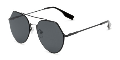 Angle of Gus #4001 in Black Frame with Grey Lenses, Women's and Men's Round Sunglasses