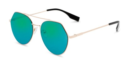 Angle of Gus #4001 in Gold Frame with Green/Purple Mirrored Lenses, Women's and Men's Round Sunglasses