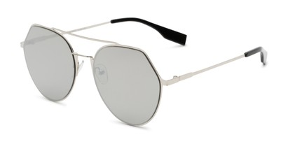 Angle of Gus #4001 in Silver Frame with Silver Mirrored Lenses, Women's and Men's Round Sunglasses