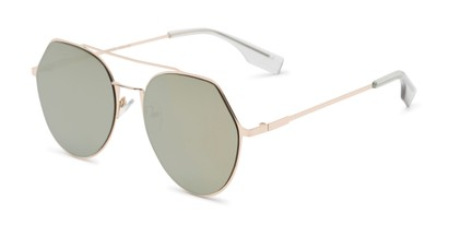 Angle of Gus #4001 in Gold Frame with Gold Mirrored Lenses, Women's and Men's Round Sunglasses