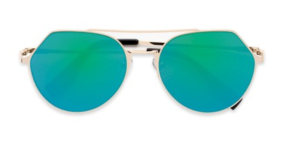 Folded of Gus #4001 in Gold Frame with Green/Purple Mirrored Lenses