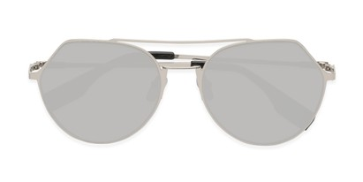 Folded of Gus #4001 in Silver Frame with Silver Mirrored Lenses