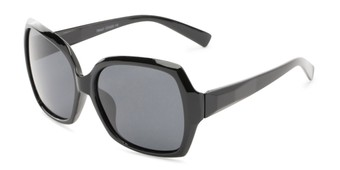 Angle of Haddington #7848 in Black Frame with Grey Lenses, Women's Square Sunglasses