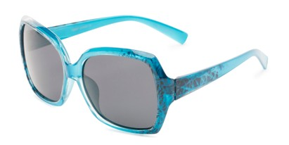 Angle of Haddington #7848 in Blue Frame with Grey Lenses, Women's Square Sunglasses