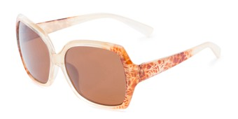 Angle of Haddington #7848 in Gold Frame with Amber Lenses, Women's Square Sunglasses