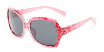 Angle of Haddington #7848 in Pink/Red Frame with Grey Lenses, Women's Square Sunglasses