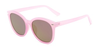 Angle of Hampton #1169 in Light Purple Frame with Pink Mirrored Lenses, Women's Cat Eye Sunglasses