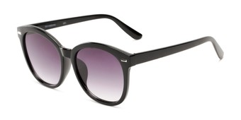 Angle of Hampton #1169 in Black Frame with Smoke Lenses, Women's Cat Eye Sunglasses