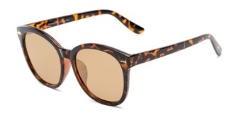 Angle of Hampton #1169 in Tortoise Frame with Gold Mirrored Lenses, Women's Cat Eye Sunglasses