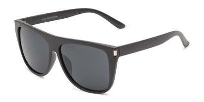 Angle of Hank #7442 in Black Frame with Grey Lenses, Men's Square Sunglasses