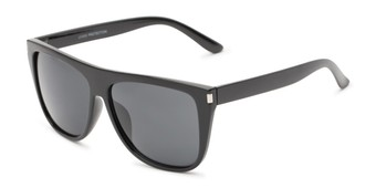 Angle of Hank #7442 in Matte Black Frame with Grey Lenses, Men's Square Sunglasses