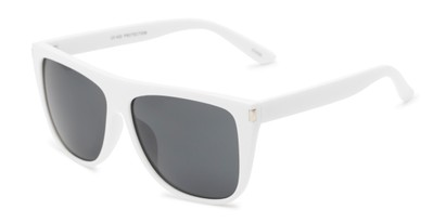 Angle of Hank #7442 in White Frame with Grey Lenses, Men's Square Sunglasses
