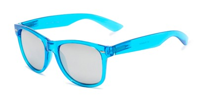 Angle of Hanson #60030 in Blue Frame with Silver Mirrored Lenses, Women's and Men's Retro Square Sunglasses
