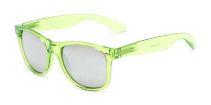 Angle of Hanson #60030 in Green Frame with Silver Mirrored Lenses, Women's and Men's Retro Square Sunglasses