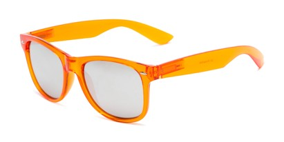 Angle of Hanson #60030 in Orange Frame with Silver Mirrored Lenses, Women's and Men's Retro Square Sunglasses