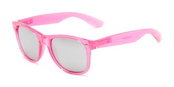 Angle of Hanson #60030 in Pink Frame with Silver Mirrored Lenses, Women's and Men's Retro Square Sunglasses