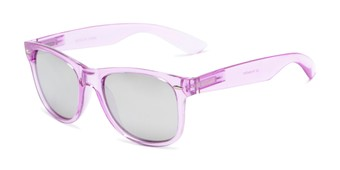 Angle of Hanson #60030 in Purple Frame with Silver Mirrored Lenses, Women's and Men's Retro Square Sunglasses