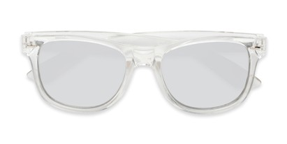 Folded of Hanson #60030 in Clear Frame with Silver Mirrored Lenses